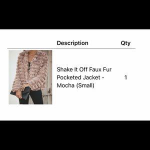 Faux fur pocketed jacket